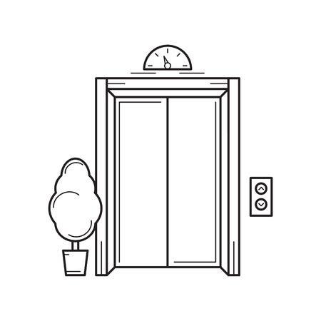building inspector: Line office building elevator and tree. Isolated vector illustration