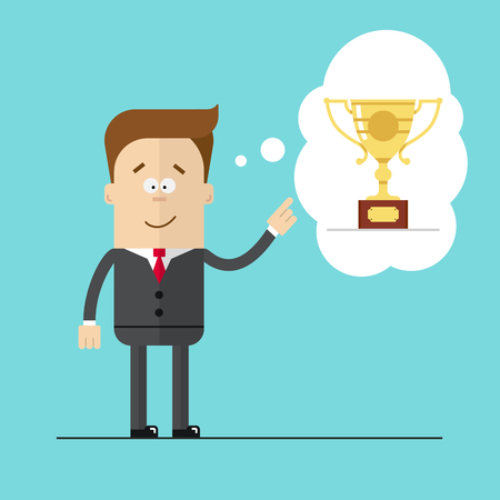 specifies: Happy businessman specifies hand on the award . Thoughts the Cup. Hight quality vector illustrarion. Illustration