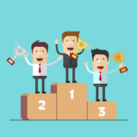 businessmen or managers on the podium with the winning hand. Cartoon vector image.