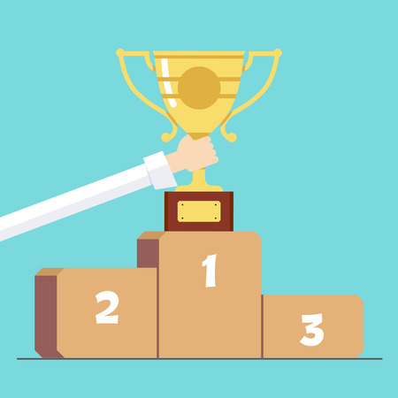 commendation: Award in hand on the background of the pedestal . Cartoon vector illustration Illustration