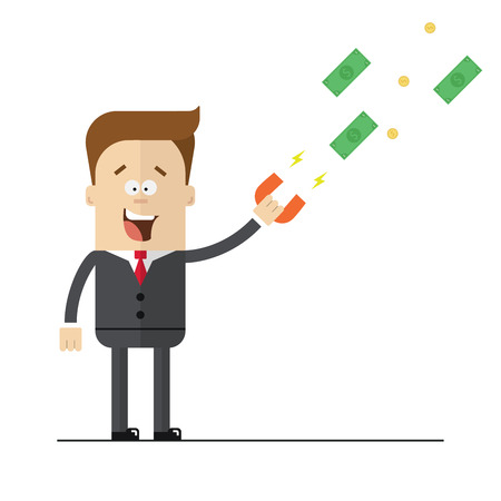 attract: Businessman with a magnet to attract money. Isolated illustration on white background . Flat image.