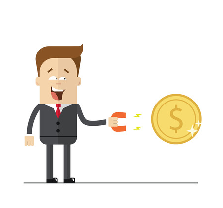magnetism: Happy businessman with a magnet to attract money. Isolated illustration on white background . Flat image. Illustration