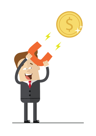 attract: Happy businessman with a magnet to attract money. Isolated illustration on white background . Flat image. Illustration