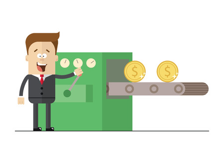 wads: Happy businessman prints wads of money on the con . Isolated illustration white background . Flat picture Illustration