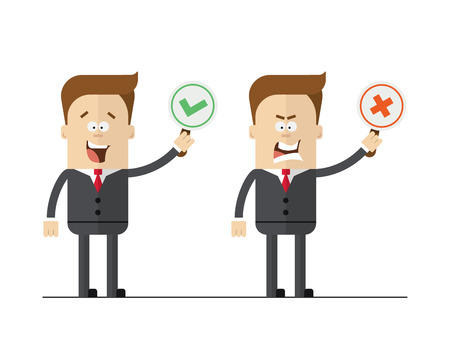 Cartoon office worker holding right and wrong signs. Isolated vector set. Ilustrace