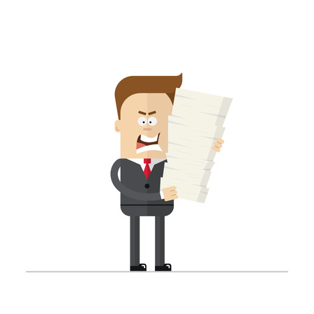 overtime: Angry cartoon businessman or manager during the overtime. Isolated on white background Illustration