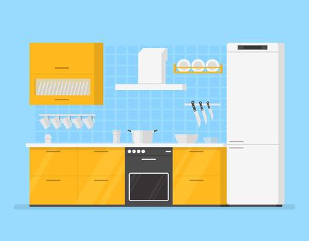 modern kitchen: modern interior kitchen room in yellow tones. Isolated cartoon illustration
