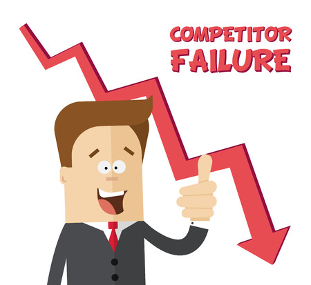 rejoices: Happy businessman or manager rejoices failure competitors. Flat isolated illustration