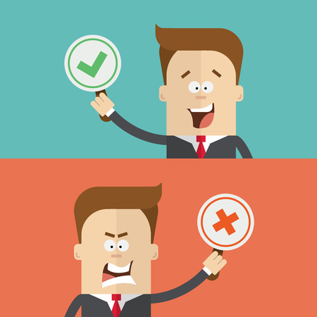 man close up: businessman or manager vote using tablets for and against. True or false. Happy and angry man in a business suit. The man close up. Cartoon flat vector illustration Illustration