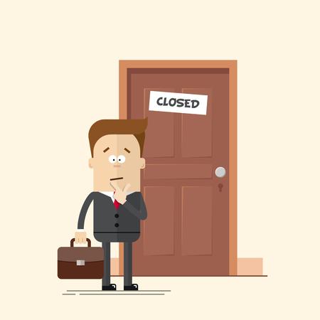 Pensieroso uomo d'affari o manager in piedi davanti a una porta chiusa. Un uomo con una valigia in un vestito di affari con una cravatta. L'uomo in confusione. illustrazione piatta vettore cartone animato in stile moderno