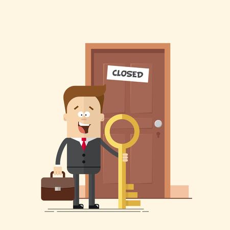 glücklich Geschäftsmann mit einem Schlüsselmanager oder vor einer geschlossenen Tür stehen. Ein Mann mit einem Koffer in einem Business-Anzug mit Krawatte. Gelöst ein Problem. Moving forward. Keine Hindernisse