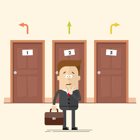 choise: Pensive businessman or manager standing in front of the doors. Select a destination. A man in a business suit. Movement choise. Cartoon flat vector illustration in modern style