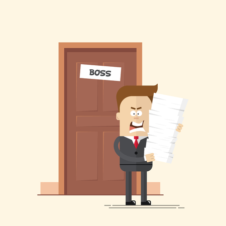 hard worker: angry businessman or manager with a lot of documents came out of the boss office is going to work. Man unhappy overtime. A man in a business suit with a bunch of papers in his hands. Hard worker