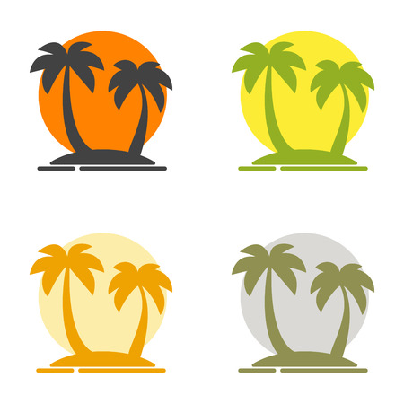 paradise place: Summer set of logos depicting the silhouette of palm trees on the island and the sun. Paradise place to vacation. Colored vector illustration for a travel agency. Isolated flat images
