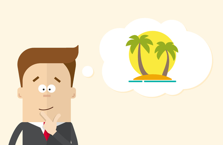 man close up: Happy businessman or manager imagines vacation on the island. A man in a business suit thinking about vacation. Silhouette of palm trees against the sun. The man close up Illustration