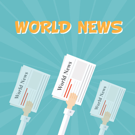 news papers: World News. Outstretched hand with news papers. The financial and economic news. Background in cartoon style. Light rays. Flat vector illustration