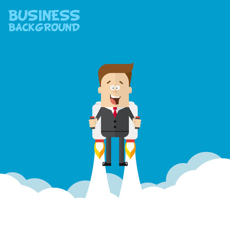jetpack: Happy businessman or manager flying on jetpacks to his goal. Flying above the clouds. Startup illustration. Successful people in business suit. Vector illustration in cartoon style flat