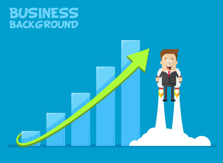 jetpack: Happy businessman or manager flying on jetpacks to his goal. The growth of the economy. Investments up. A man in a business suit with a tie flying up. Vector cartoon illustration of a plane