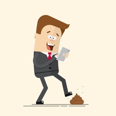 Phone relationship. Smartphone addiction. Play mobile games. Manager or a businessman with a telephone in danger. Feces on the road. Unpleasant unexpected surprise