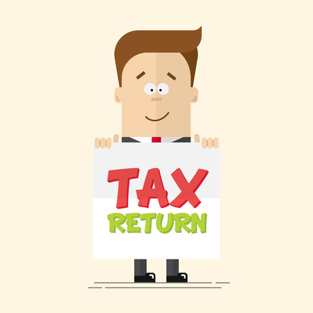 happy businessman or manager with a poster in his hands. Tax return. A man in a business suit with a tie in a full-length. Cartoon vector illustration of a flat, isolated on a beige background Illustration