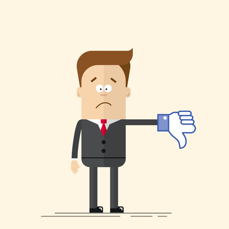 Sad businessman or manager shows a sign Thumb Down blue color. Dislike icon. A man in a business suit and tie. Comic hand. Vector man in a flat, cartoon style