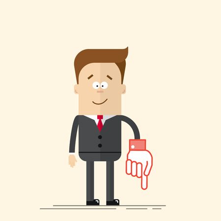 pleased: Happy businessman or manager It shows down his hand. Pleased man in a business suit and tie. A man in a cartoon flat style. Vector illustration isolated on beige background