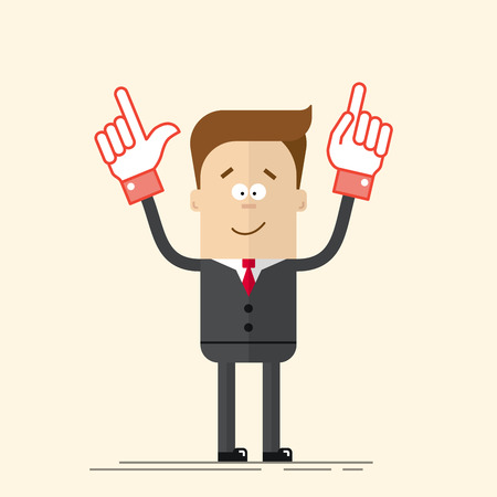 pleased: Happy businessman or manager It shows up his hand. Pleased man in a business suit and tie. A man in a cartoon flat style. Vector illustration isolated on beige background