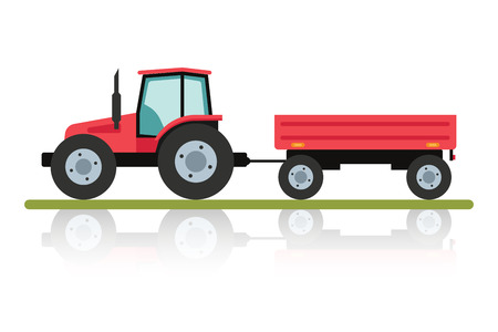 traction: Red tractor with a trailer for transportation of large loads. Agricultural machinery in flat cartoon style isolated on white background