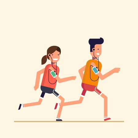 유행 평면, 얇은 라인 문자 디자인 베이지 색 배경에 고립. 남자와 여자의 조깅, 스포츠 훈련 동안 전화 또는 플레이어에서 음악을 듣고. 벡터 만화 일
