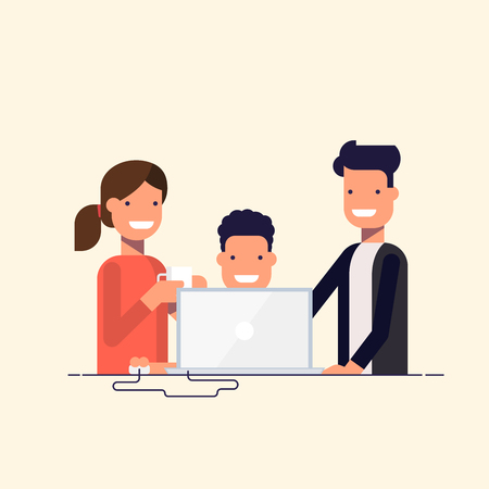 business work: Business team in a work process or parent watch the child. Man sitting at a computer surrounded by employees. Team problem solving. A man in a business suit and woman drinking coffee. Cartoon flat.