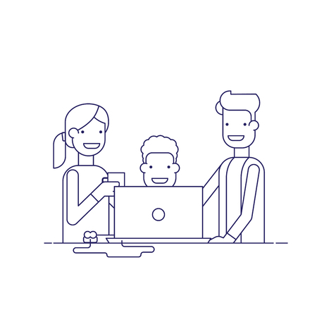 woman drinking coffee: Business team in a work process or parent watch the child. Man sitting at a computer surrounded by employees. Team problem solving. Man in business suit and woman drinking coffee. Thin line vector Illustration