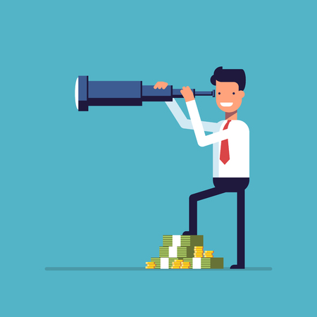 Businessman with lots of money looking through a telescope. The manager seeks investment prospects. Man makes plans for the future. Character in a flat style. Vector image isolated on blue background Illustration