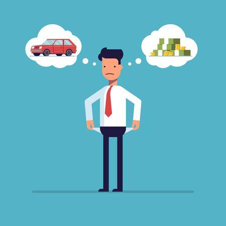 돈, 파산 사업가입니다. 남자는 차를 꿈꿉니다. 관리자는 재정적 문제에 대해 생각합니다. 불쌍한 사람. 파란색 배경에 고립 된 평면 스타일의 캐릭터 일러스트