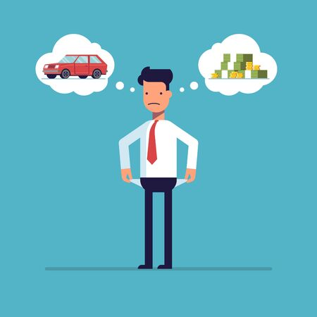 Businessman with no money, bankrupt. Man dreams of a car. The manager thinks about the financial issue. Poor man. A character in a flat style, isolated on a blue background Stock Illustratie