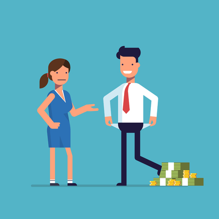 Man cheating woman. Businessman with lots of money evades payment. Financial fraud. Greedy man in trousers and shirt. False bankruptcy. Vector illustration in flat style isolated on a blue background