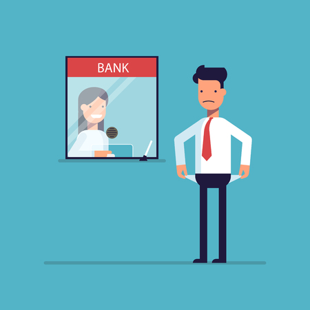 penniless: Businessman without money nothing to pay the loan , the debt to the bank. Man is not the money to pay. A man in a difficult financial situation. Banking system. Vector illustration in a flat style