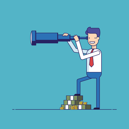 prospects: Businessman with lots of money looking through a telescope. The manager seeks investment prospects. Man makes plans for the future. Character in a flat style. Thin line vector illustration
