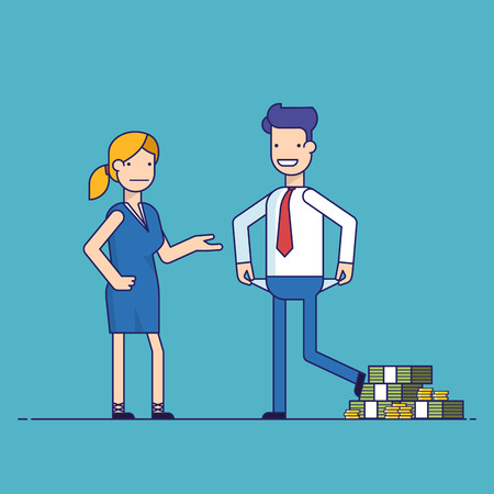 Man cheating woman. Businessman with lots of money evades payment. Financial fraud. Greedy man in trousers and shirt. False bankruptcy. Thin line vector illustration in flat style Illustration