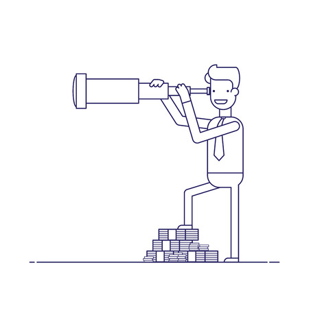 seeks: Businessman with lots of money looking through a telescope. The manager seeks investment prospects. Man makes plans for the future. Character in a flat style. Thin line vector illustration