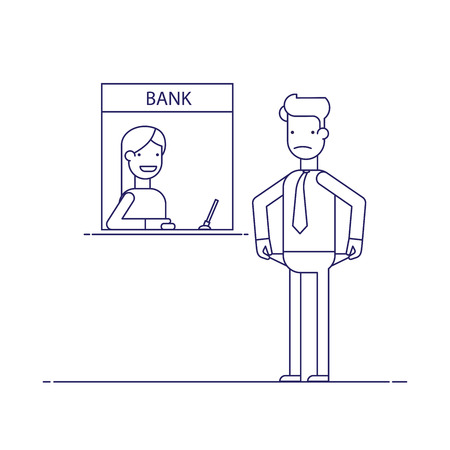 difficult situation: Businessman without money nothing to pay the loan , the debt to the bank. Man is not the money to pay. Man in difficult financial situation. Banking system. Thin line flat vector illustration