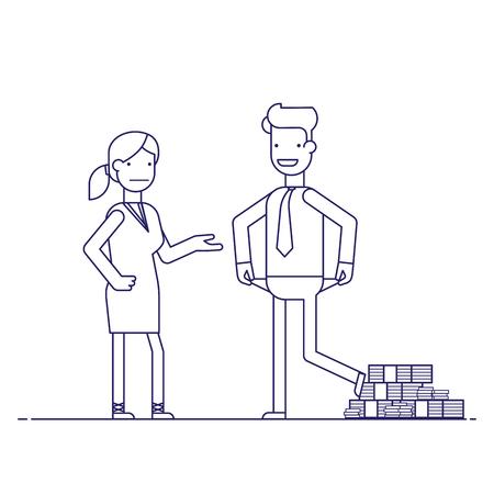 cheating woman: Man cheating woman. Businessman with lots of money evades payment. Financial fraud. Greedy man in trousers and shirt. False bankruptcy. Thin line vector illustration in flat style Illustration