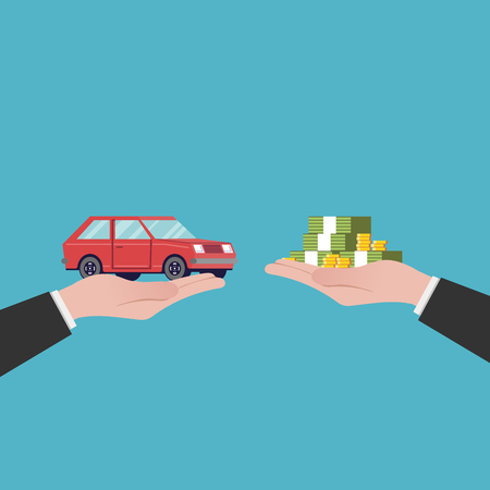 Flat illustration car sales. Out of hands. Red vehicle. image in a cartoon style isolated on blue background.