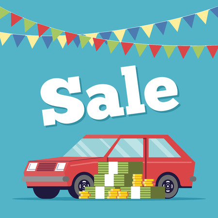Promotional poster selling cars in the showroom executed in flat style. Money is next to the machine. Sale of new and vehicles. Discount on the purchase of a personal vehicle Illustration
