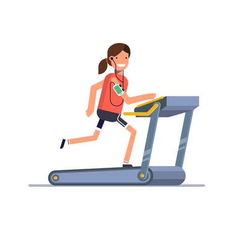 Treadmill while listening to music through the phone. A woman running in the gym. People strengthens health exercise.