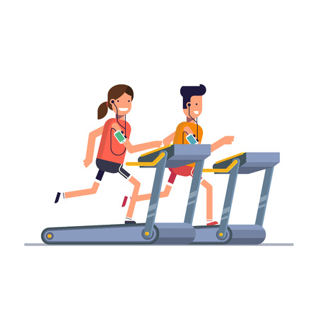 It is a treadmill while listening to music through the phone. People running in the gym. Man strengthens health exercise.