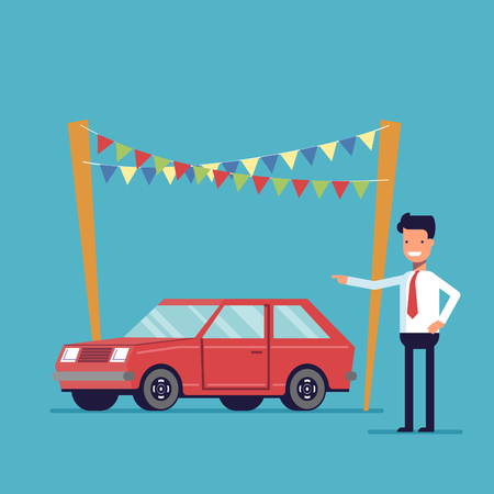 Smiling dealer offers to buy the car. Sale of new and second-hand vehicles. Happy man in a shirt and tie. Vector flat image isolated on a blue background Illustration