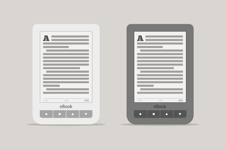 news reader: E-book reader or tablet computer mockup. Black and white mobile device set with shadow isolated on background. The portable electronic device for reading books and news Illustration