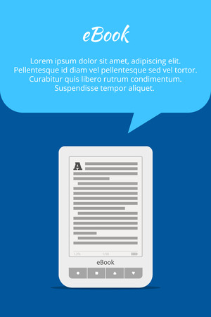 databank: eBook or tablet concept. Quote bubble. A portable device for reading books. Advertising banner. Vector illustration Illustration