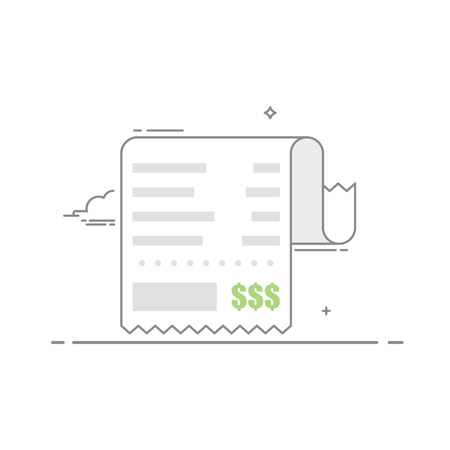 total: Receipt with the shopping list and the value of the goods. Financial document . Concept receipt thin line icon with a total cost. Vector illustration in a linear style isolated on white background