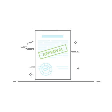 storing: Document approved. Blank with text information, and printing was consideration. Vector illustration in a linear style isolated on white background. Filling out tax forms. Storing information on paper Illustration